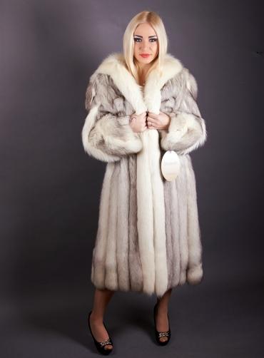 Шуба из меха полярной лисы Калвина